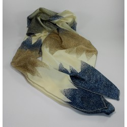 Pañuelo Seda Marron Azul